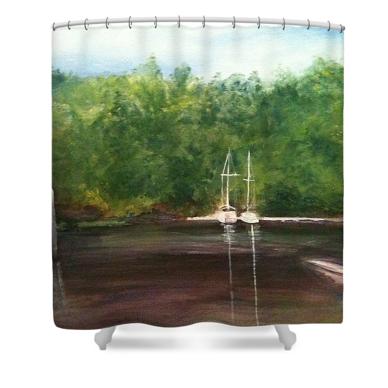 Plein Aire Shower Curtain featuring the painting Curtain's Marina by Sheila Mashaw