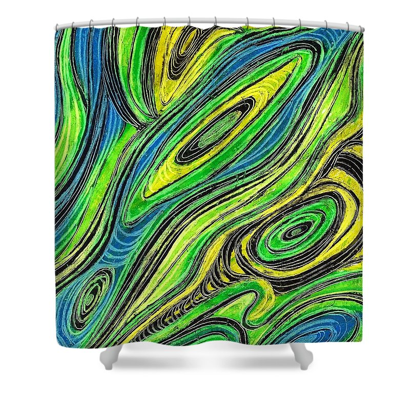 Curved Lines 5 Shower Curtain featuring the drawing Curved Lines 5 by Sarah Loft
