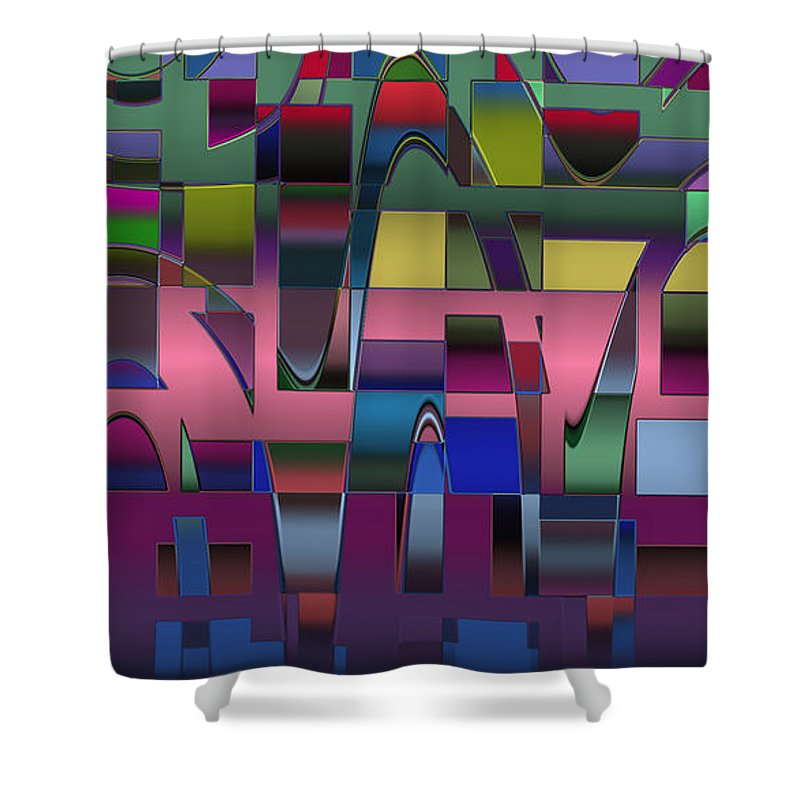 Geometric Shower Curtain featuring the digital art Curves And Trapezoids by Judi Suni Hall