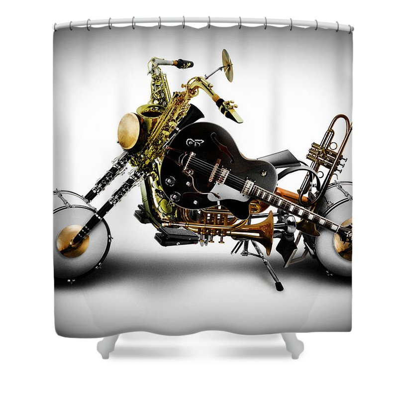 Bike Shower Curtain featuring the digital art Custom Band II by Alessandro Della Pietra
