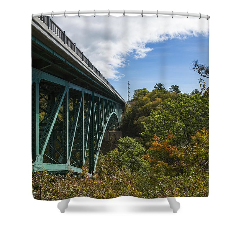 Cut Shower Curtain featuring the photograph Cut River Bridge 1 C by John Brueske