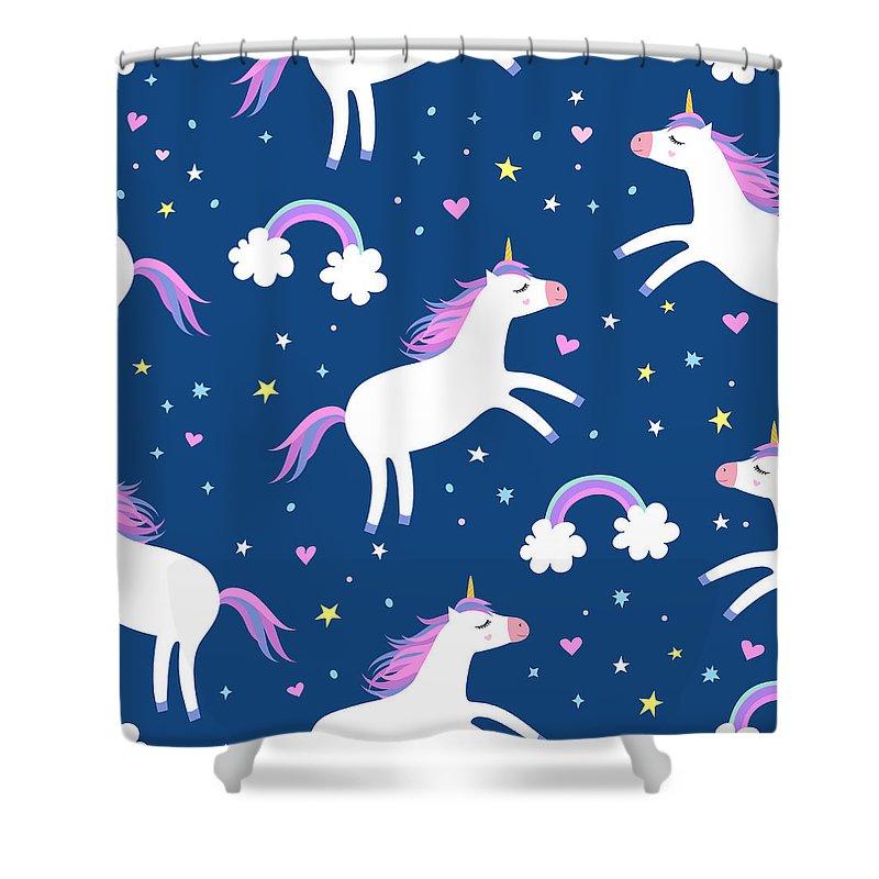 Horse Shower Curtain featuring the digital art Cute Cartoon Colorful Seamless Pattern by Ekaterina Bedoeva