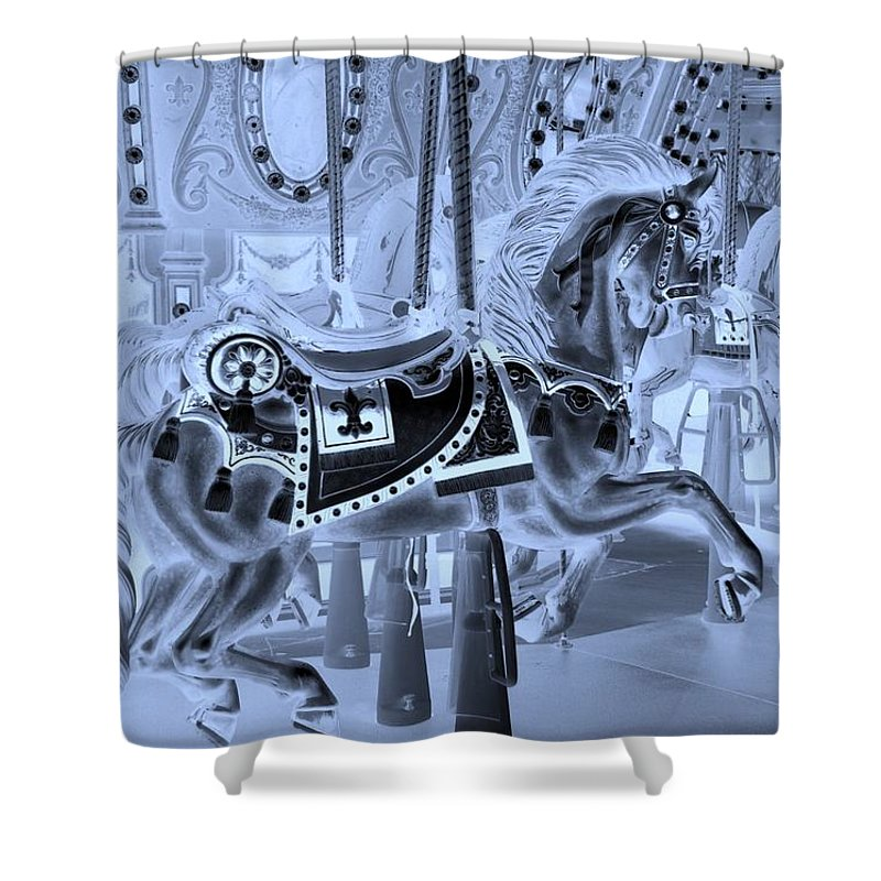 Carousel Shower Curtain featuring the photograph Cyan Horse by Rob Hans