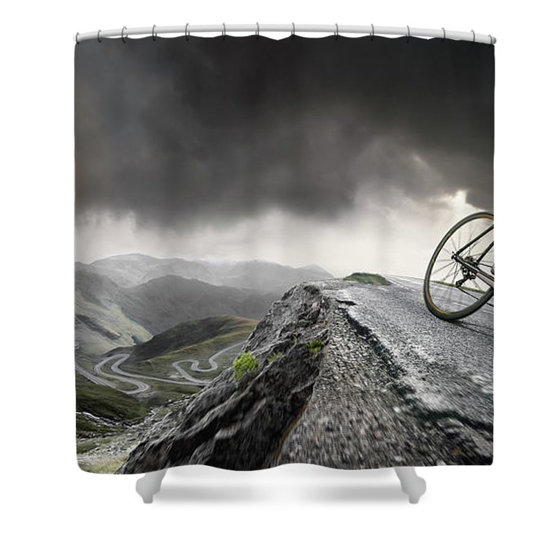 Sports Helmet Shower Curtain featuring the photograph Cyclist Climbs To The Top by Peepo