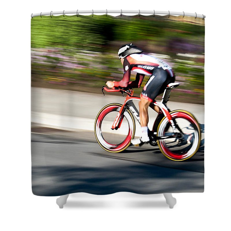 Cyclist Shower Curtain featuring the photograph Cyclist Racing The Clock by Kevin Desrosiers