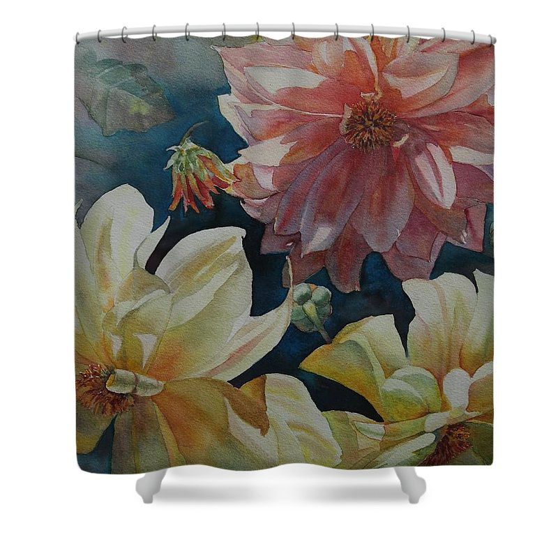 Flowers Shower Curtain featuring the painting Cynthia's Dahlias by Ruth Kamenev
