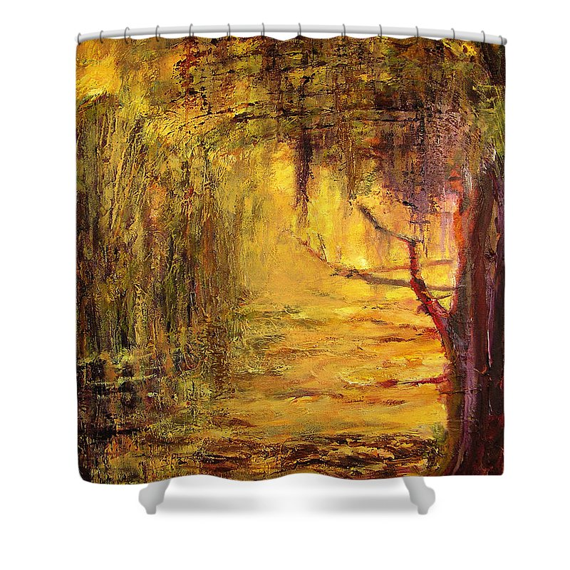 Nature Shower Curtain featuring the painting Cypress by Julianne Felton