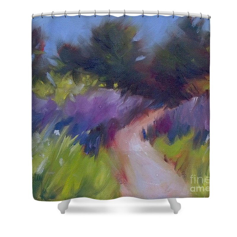 Monterey Shower Curtain featuring the painting Cypress Passage by Mary Hubley