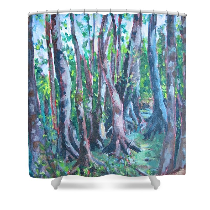 Cypress Trees Shower Curtain featuring the painting Cypress Swamp by Jan Bennicoff