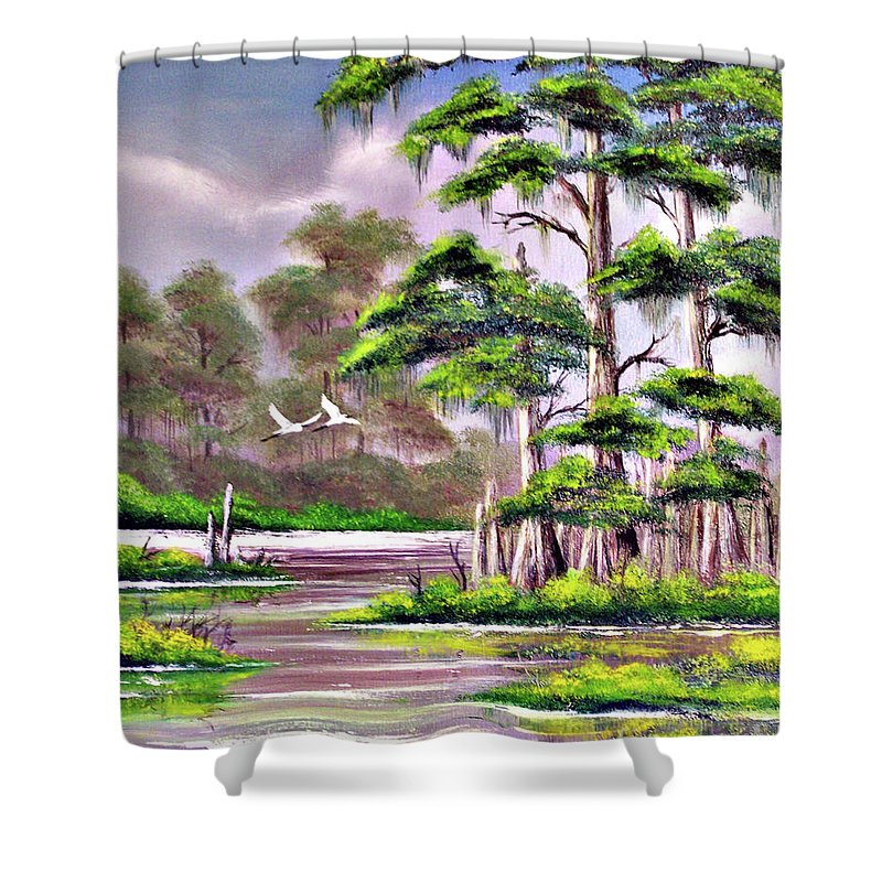 Cypress Shower Curtain featuring the painting Cypress Trees-wakulla River Florida by Bill Holkham