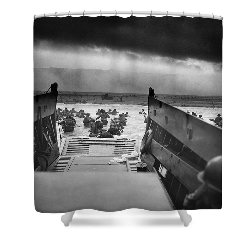 D Day Shower Curtain featuring the photograph D-Day Landing by War Is Hell Store
