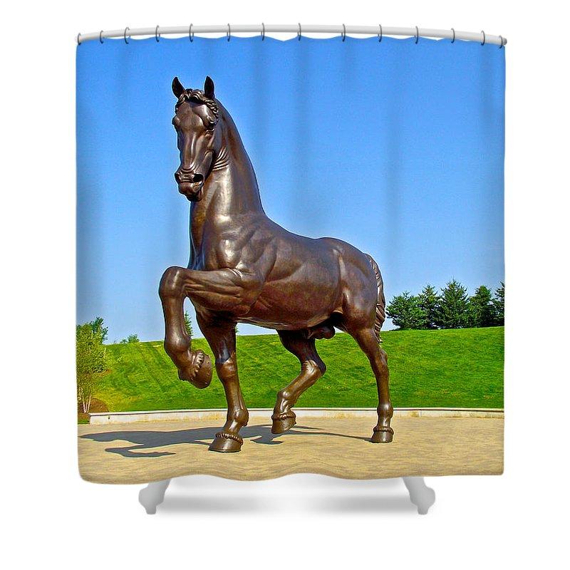 Da Vinci Horse Sculpture In Frederik Meijer Gardens And Park Grand Rapids Shower Curtain