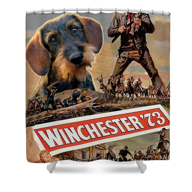 Dachshund Shower Curtain Featuring The Painting Dachshund Art Canvas Print    Winchester 73 Movie Poster By
