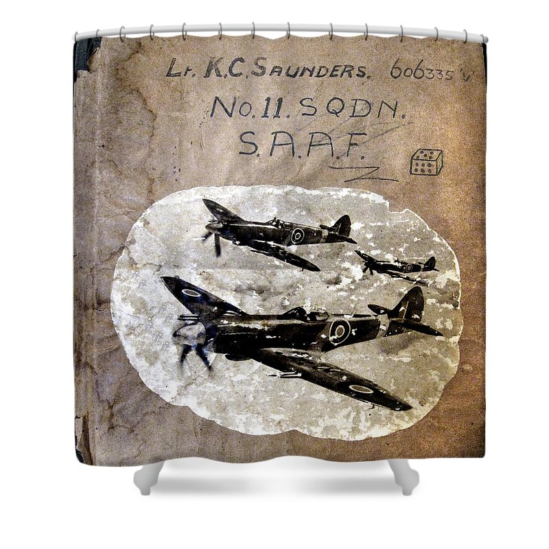Anne Mott Shower Curtain featuring the photograph Dad's Flight Training Logbook by Anne Mott