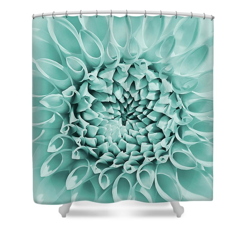 Dahlia Shower Curtain featuring the photograph Dahlia Flower Star Burst Teal by Jennie Marie Schell