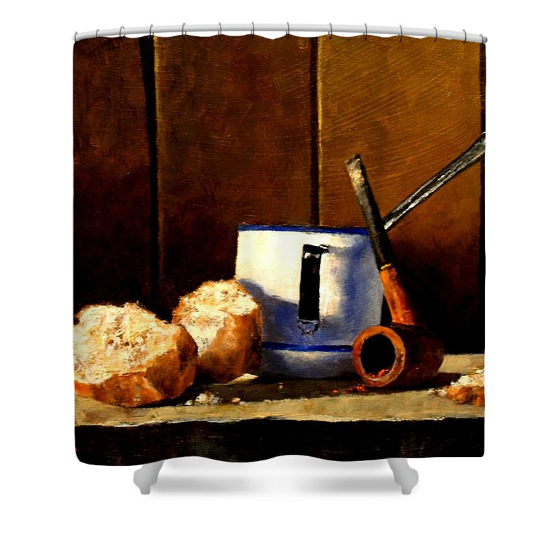 Still Life Shower Curtain featuring the painting Daily Bread Ver 1 by Jim Gola