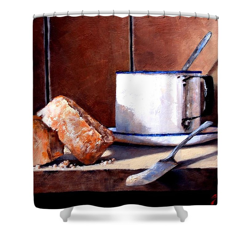 Still Life Shower Curtain featuring the painting Daily Bread Ver 2 by Jim Gola