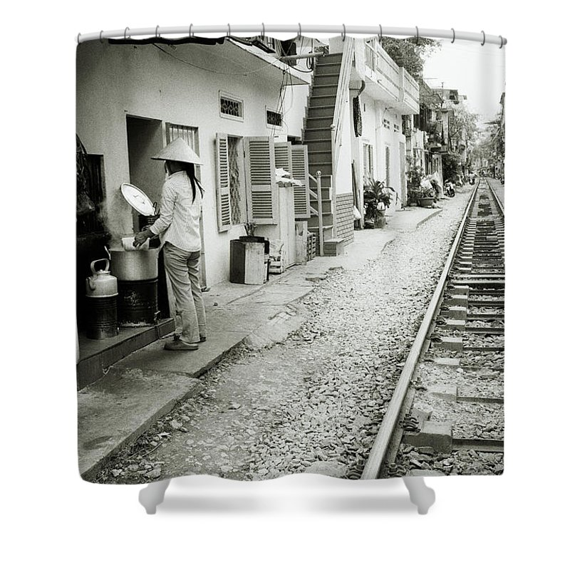Asia Shower Curtain featuring the photograph Daily Life In Hanoi by Shaun Higson