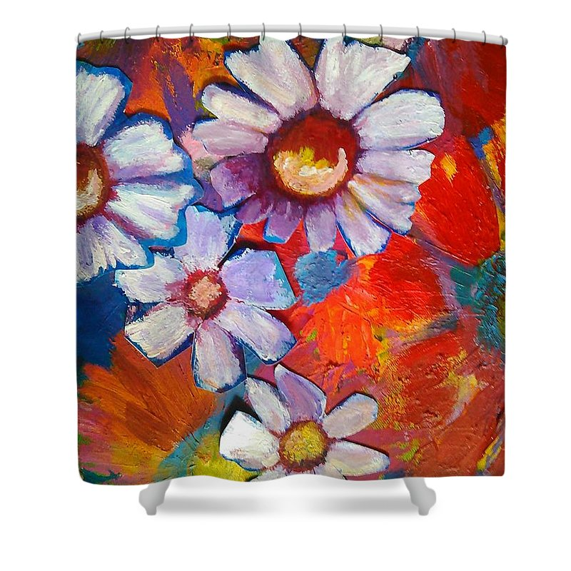 Floral Shower Curtain featuring the painting Daisies And Strawberries 2014 by Sidra Myers
