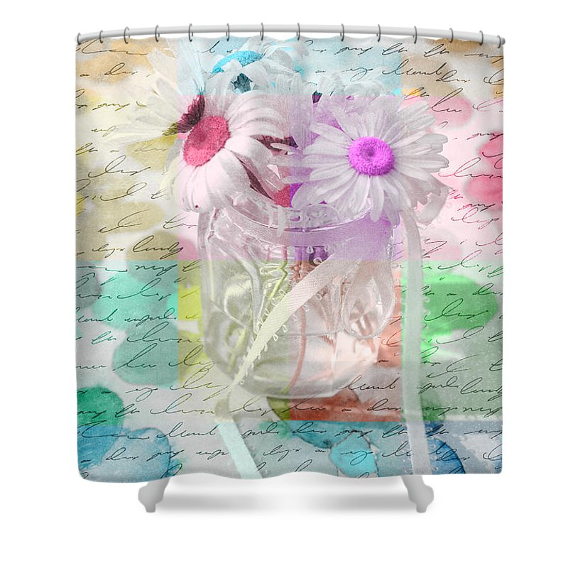Daisies Shower Curtain featuring the photograph Pot Of Daisies 01a - Du Bonheur En Pot by Variance Collections