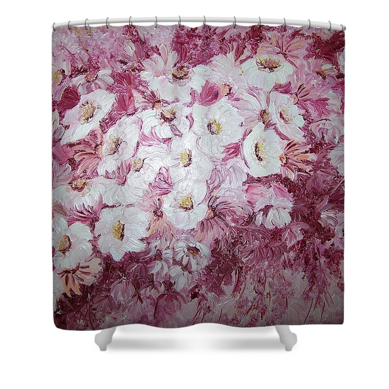 Shower Curtain featuring the painting Daisy Blush by Karin Dawn Kelshall- Best