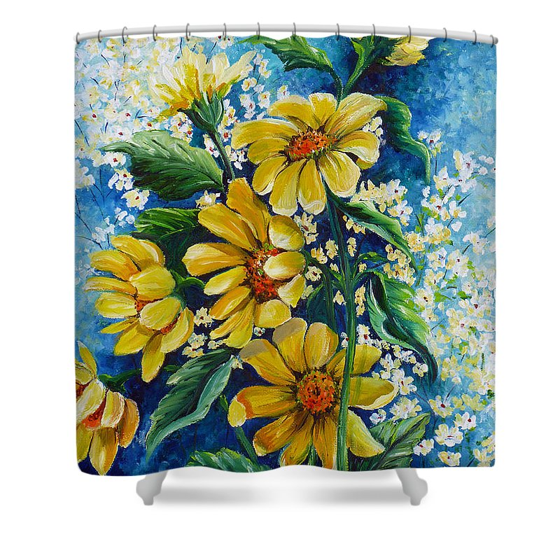 Yellow Daisies Shower Curtain featuring the painting Daisy Breath by Karin Dawn Kelshall- Best