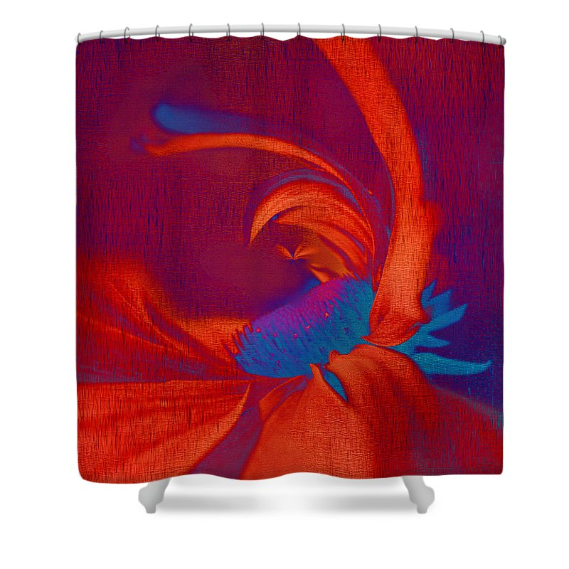 Red Shower Curtain featuring the digital art Daisy Fun - A03ct02 by Variance Collections