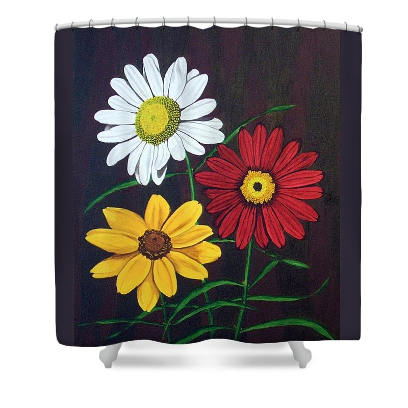 Daisy Flowers Shower Curtain featuring the painting Daisy Mae by Brandy House