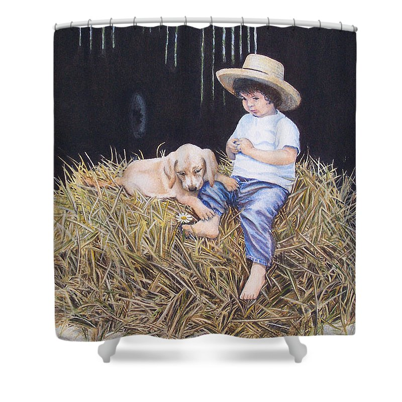 Daisy Shower Curtain featuring the painting Daisy by Nancy Cupp