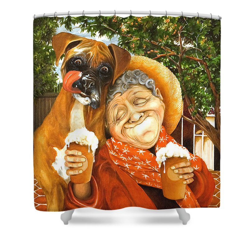 Boxer Shower Curtain featuring the painting Daisy's Mocha Latte by Shelly Wilkerson