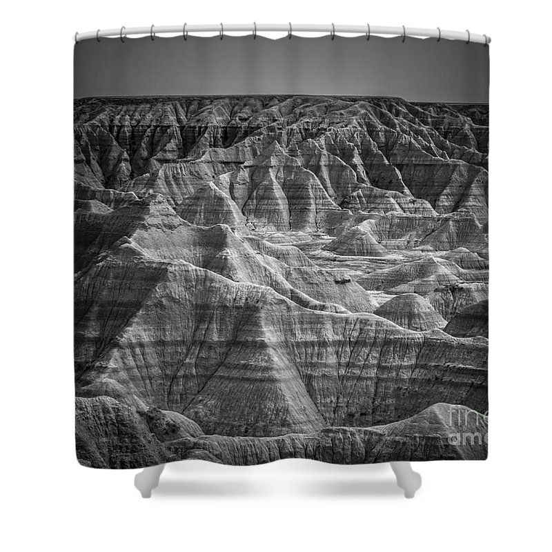Badlands Shower Curtain featuring the photograph Dakota Badlands by Perry Webster