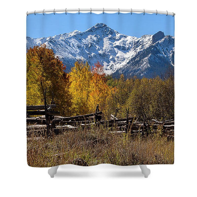Fall Foliage Shower Curtain featuring the photograph Dallas Fenceline by Jim Garrison