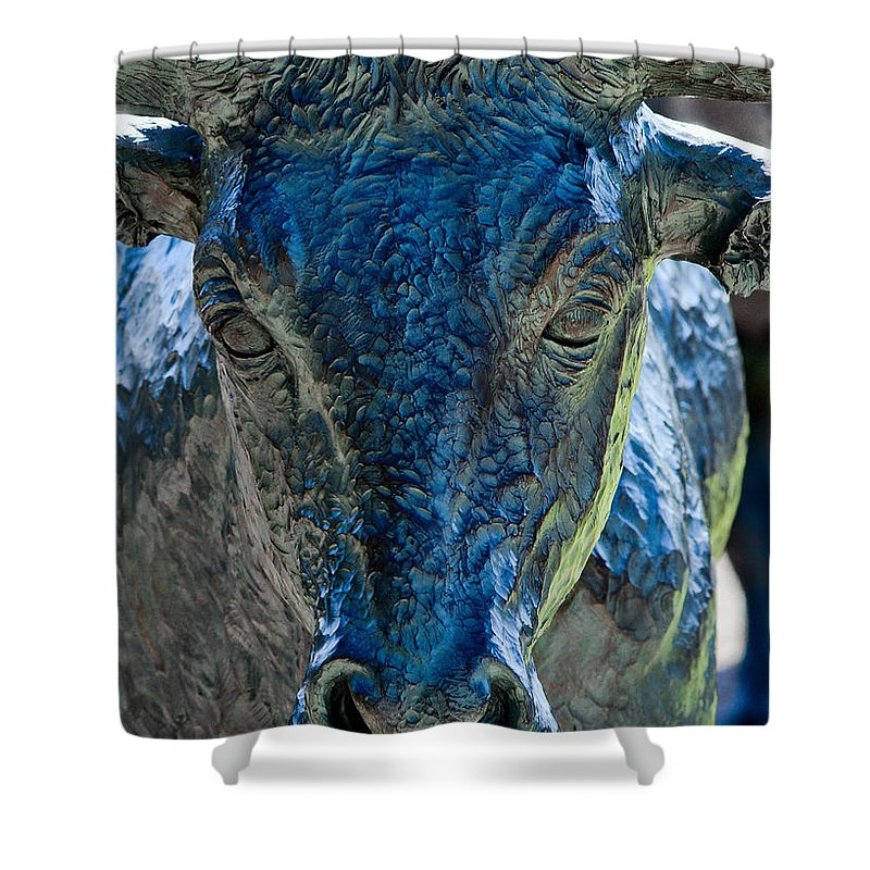 Pioneer Plaza Dallas Shower Curtain featuring the photograph Dallas Pioneer Plaza Cattle by Rospotte Photography
