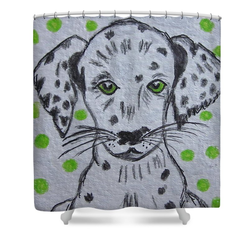 Dalmatian Puppy Shower Curtain featuring the painting Dalmatian Puppy by Kathy Marrs Chandler