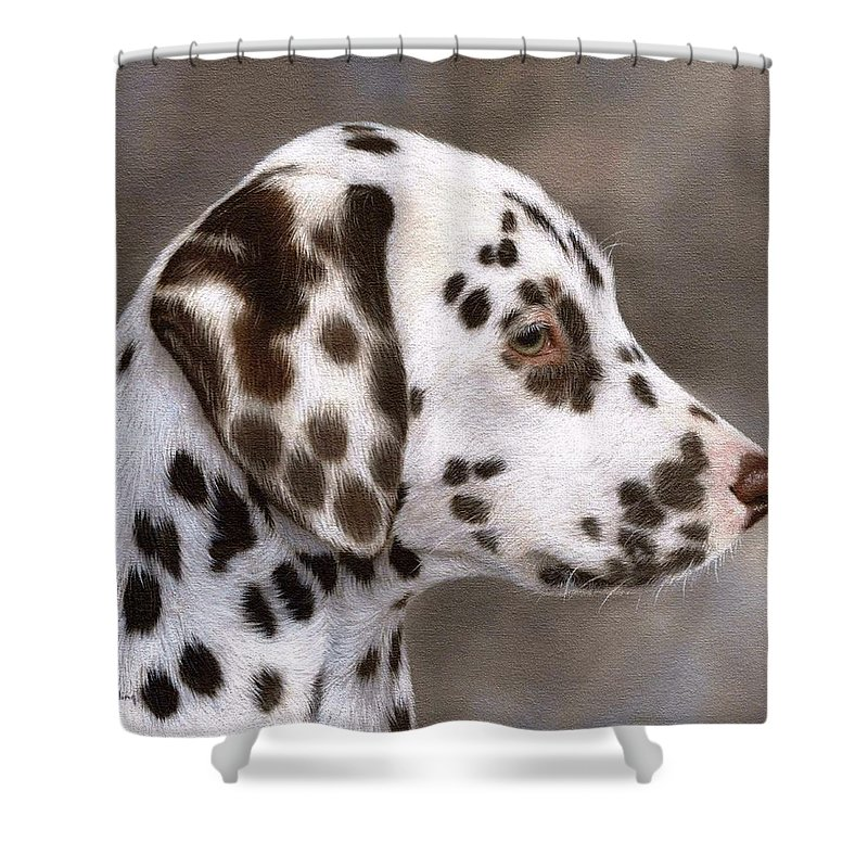 Dog Shower Curtain Featuring The Painting Dalmatian Puppy By Rachel Stribbling