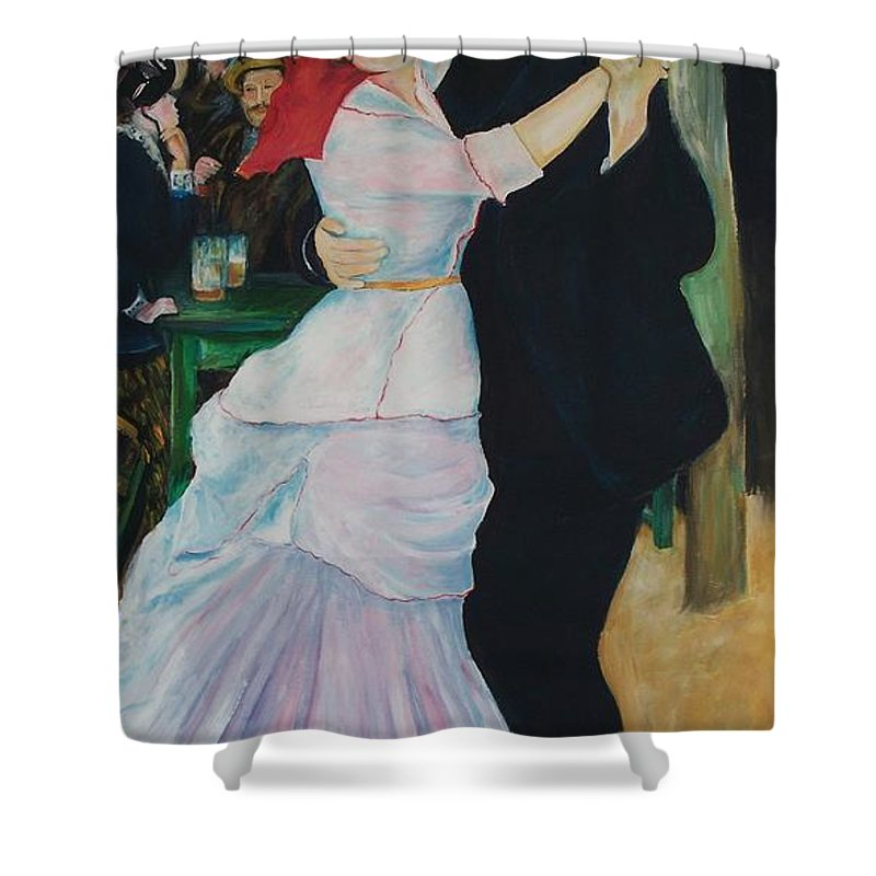 Impressionism Shower Curtain featuring the painting Dance At Bougival Renoir by Eric Schiabor