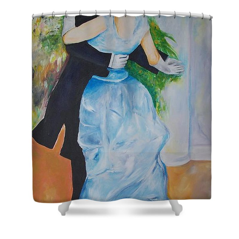 Lavender Shower Curtain featuring the painting Dance In The City by Eric Schiabor