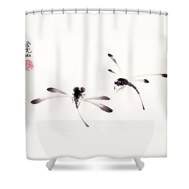 Dragonfly Shower Curtain Featuring The Painting Dance Of Dragonflies By Oiyee At Oystudio