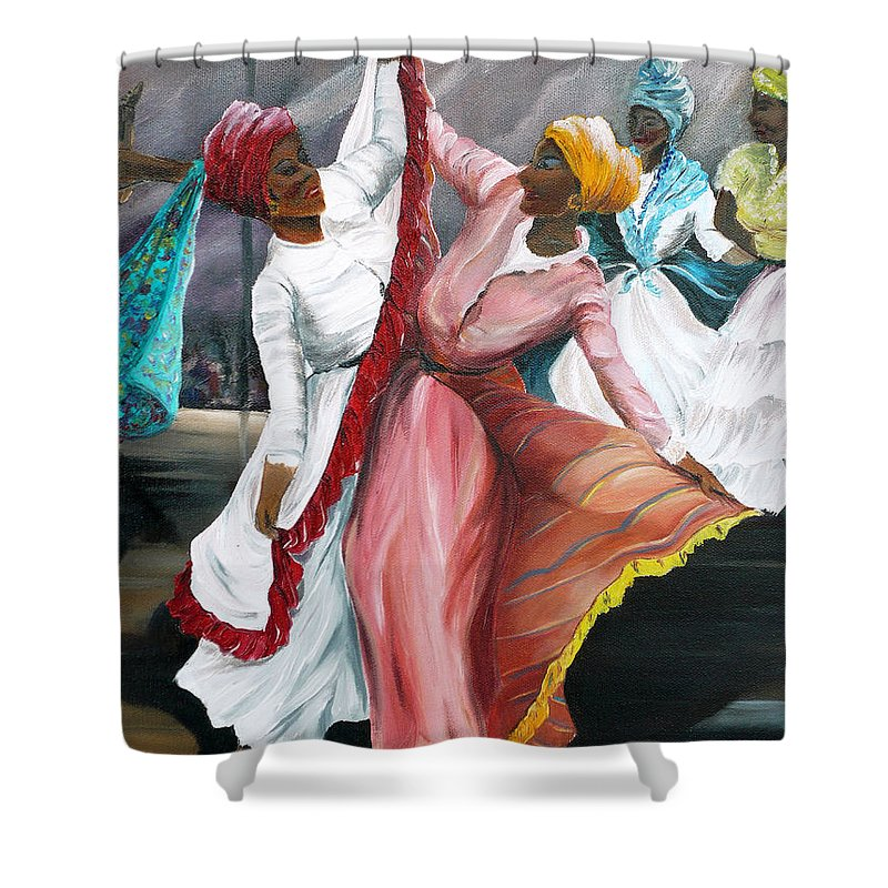 Dancers Folk Caribbean Women Painting Dance Painting Tropical Dance Painting Shower Curtain featuring the painting Dance The Pique 2 by Karin Dawn Kelshall- Best