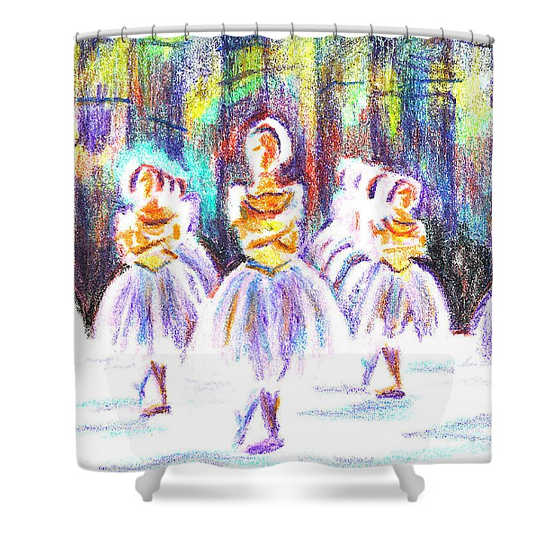 Dancers In The Forest Ii Shower Curtain featuring the painting Dancers In The Forest II by Kip DeVore