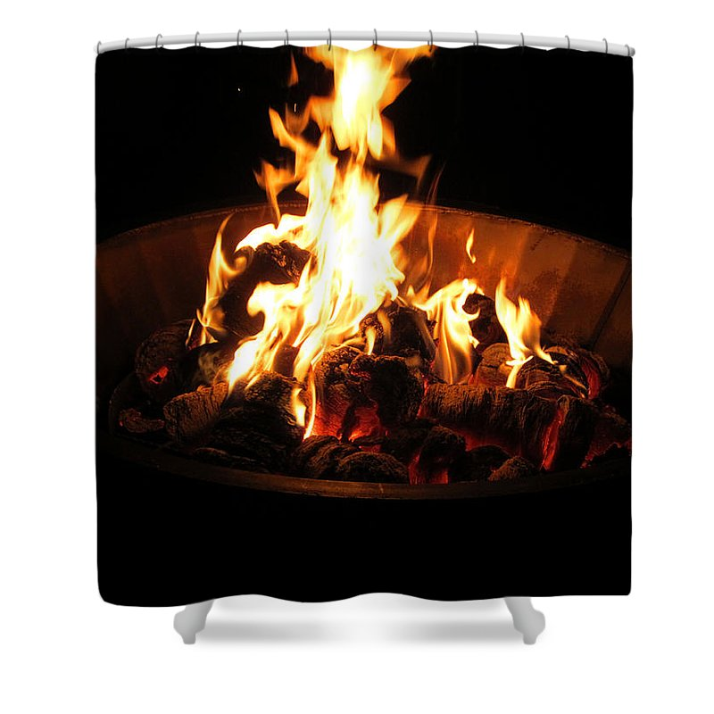 Fire Shower Curtain featuring the photograph Dancing Amber Fire In Pit by Kym Backland