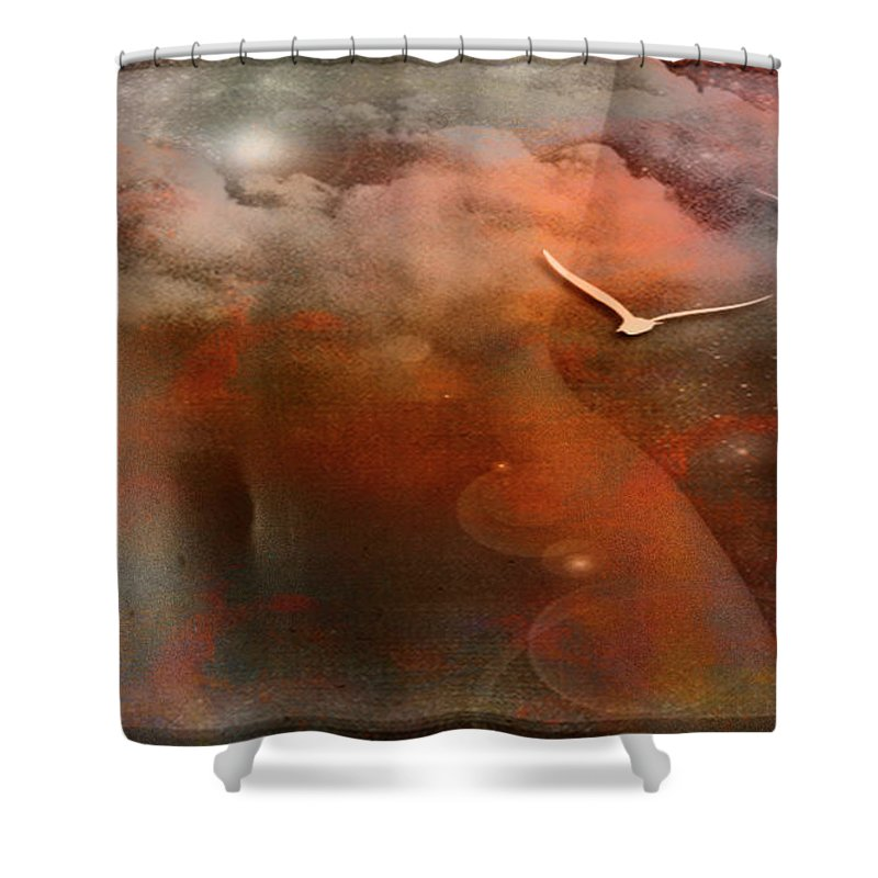 Festblues Shower Curtain featuring the photograph Dancing In Clouds... by Nina Stavlund