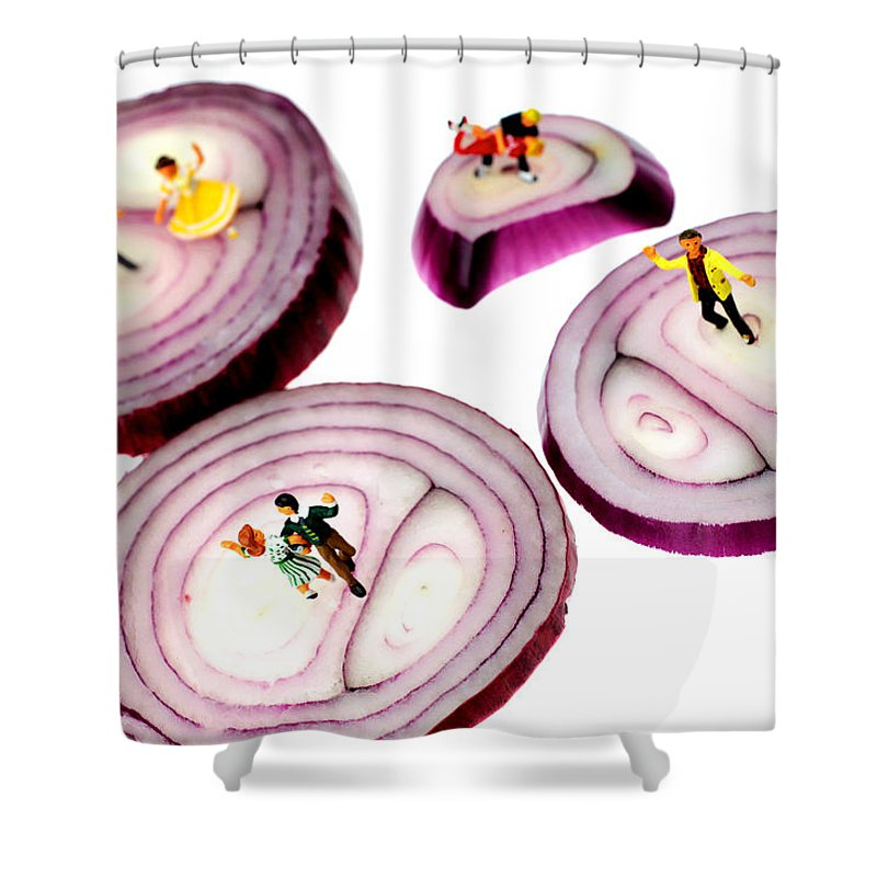 Dance Shower Curtain featuring the painting Dancing On Onoin Slices Little People On Food by Paul Ge