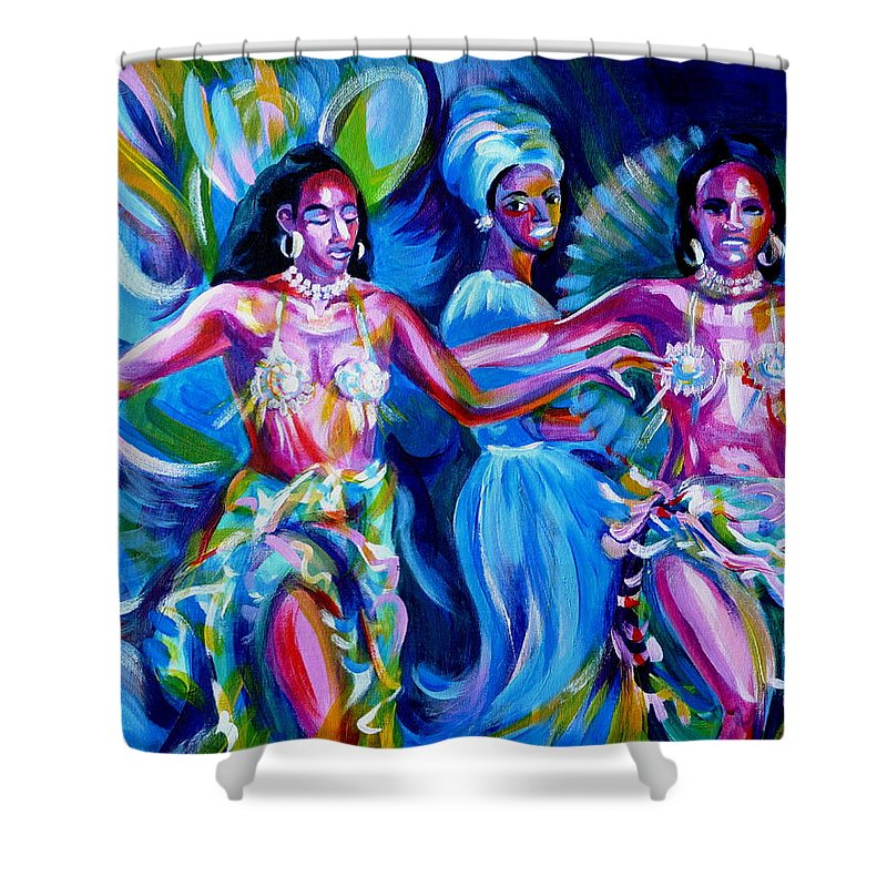Music Shower Curtain featuring the painting Dancing Panama by Anna Duyunova