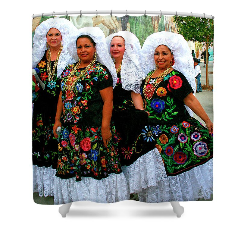 Tamale Festival Shower Curtain featuring the photograph Dancing Queens Palm Springs by William Dey