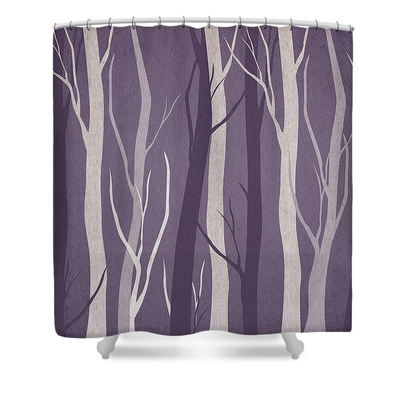 Contemporary Art Shower Curtain Featuring The Digital Dark Forest By Aged Pixel