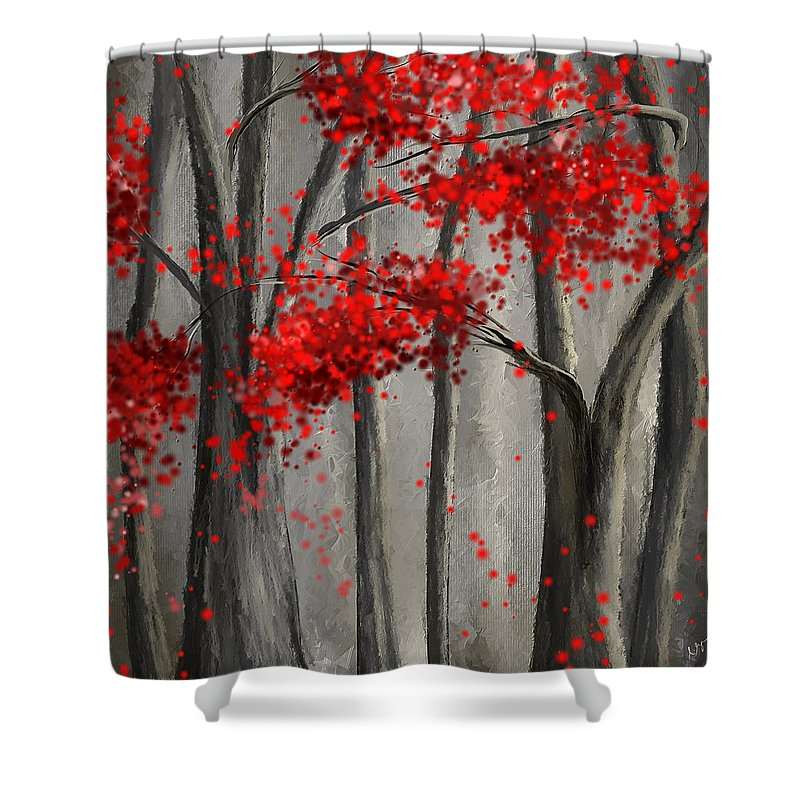 dark passion red and gray art shower curtain for sale by lourry legarde. Black Bedroom Furniture Sets. Home Design Ideas
