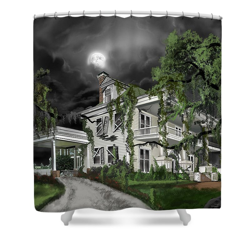 Shower Curtain featuring the painting Dark Plantation House by James Christopher Hill