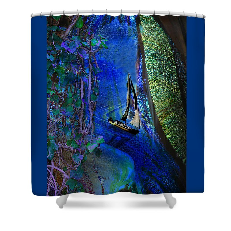 Dark River Shower Curtain featuring the digital art Dark River by Lisa Yount