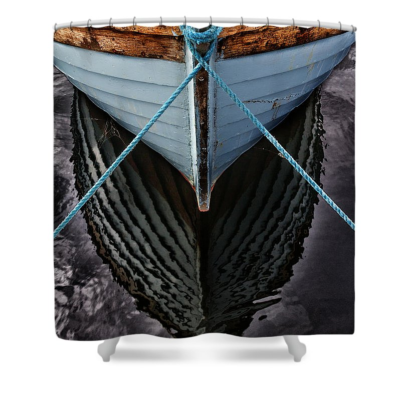 Bay Shower Curtain featuring the photograph Dark waters by Stelios Kleanthous